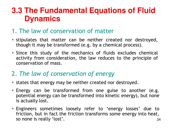 3.3 The Fundamental Equations of Fluid Dynamics