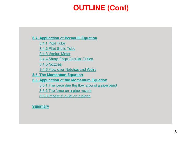 OUTLINE (Cont)
