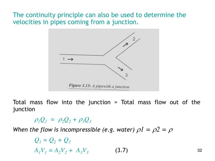 The continuity principle can also be used to determine the velocities in pipes coming from a junction.
