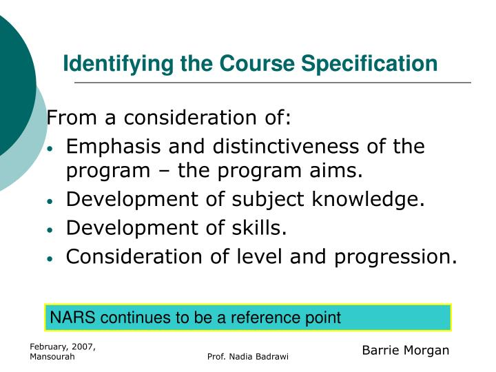 Identifying the Course Specification