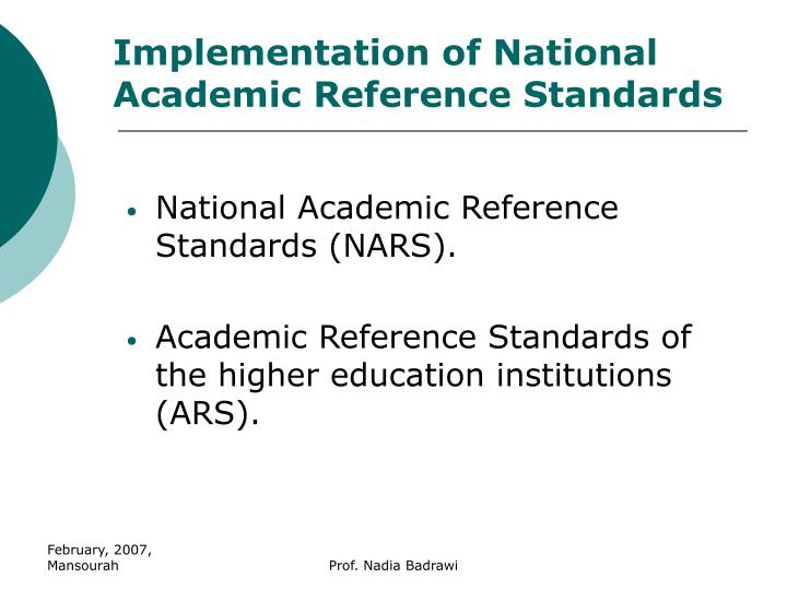Implementation of national academic reference standards1