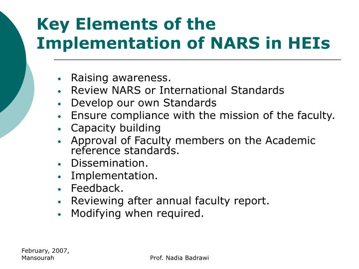 Key Elements of the Implementation of NARS in HEIs