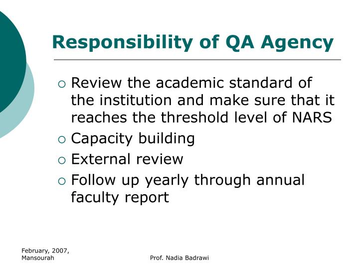 Responsibility of QA Agency