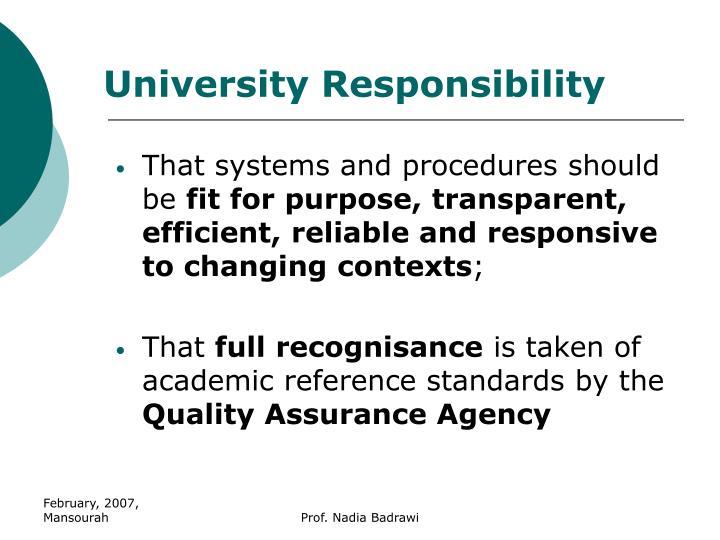 University Responsibility