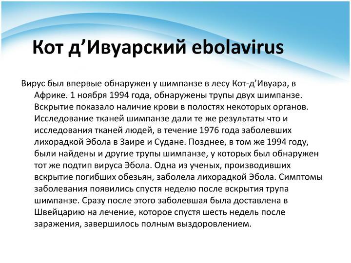 Кот д'Ивуарский ebolavirus