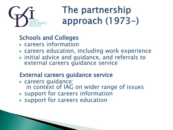 The partnership 				approach (1973-)