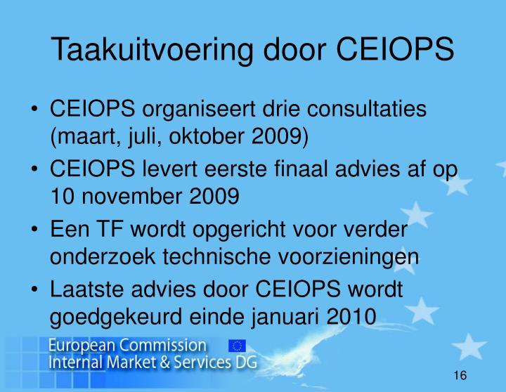 Taakuitvoering door CEIOPS