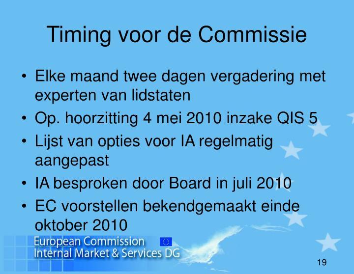 Timing voor de Commissie