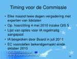 timing voor de commissie