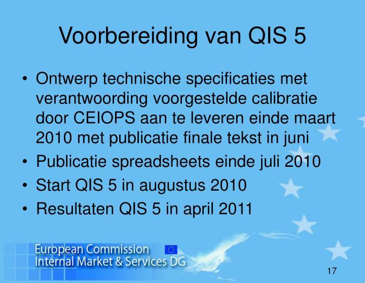 Voorbereiding van QIS 5