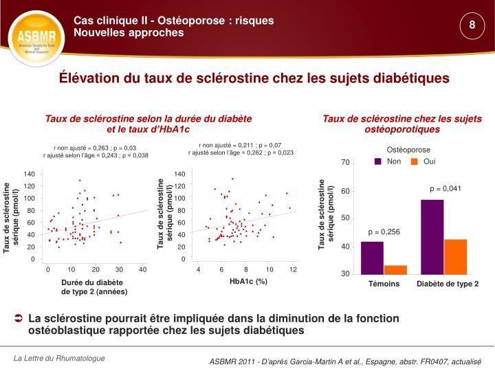 Élévation du taux de sclérostine chez les sujets diabétiques