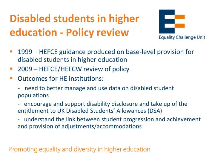 Disabled students in higher education - Policy review