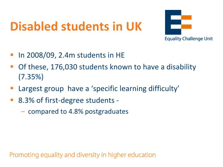 Disabled students in UK