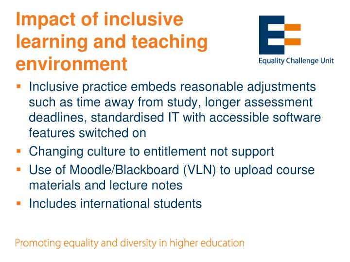 Impact of inclusive learning and teaching environment