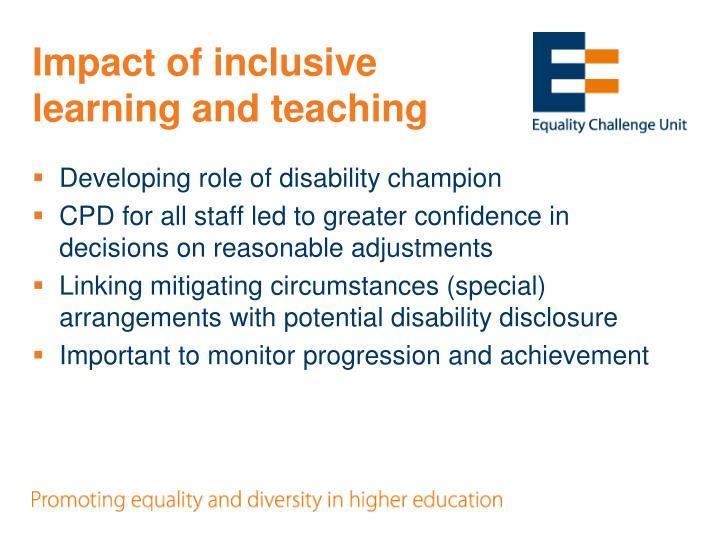 Impact of inclusive learning and teaching