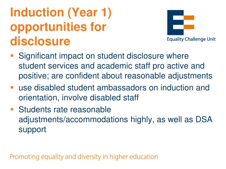 Induction (Year 1) opportunities for disclosure