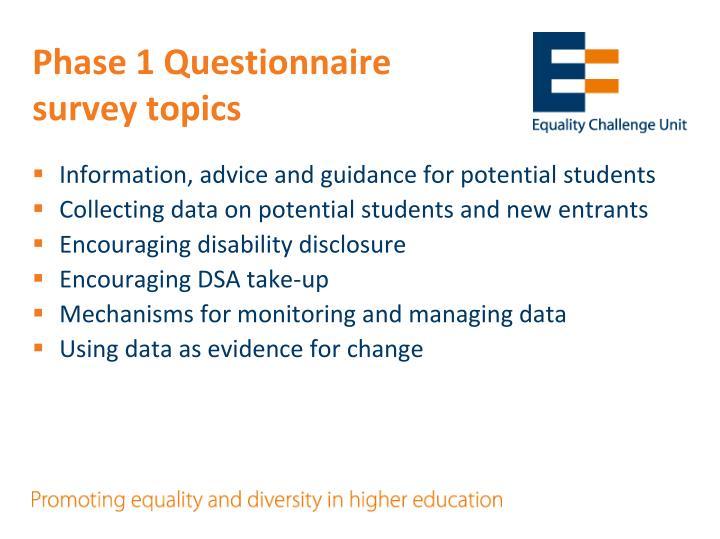 Phase 1 Questionnaire survey topics