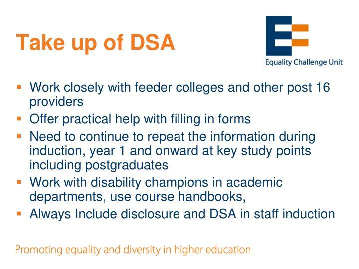 Take up of DSA