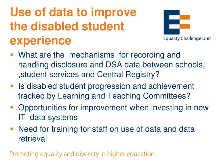 Use of data to improve the disabled student experience