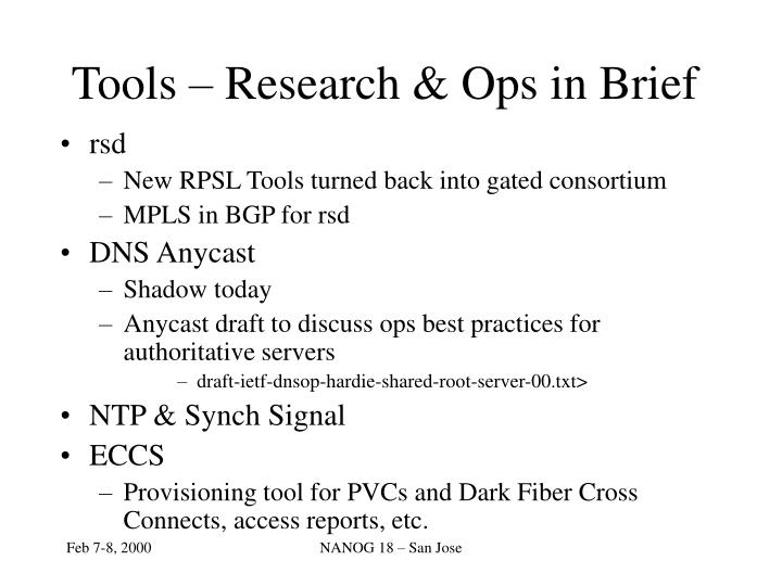 Tools – Research & Ops in Brief