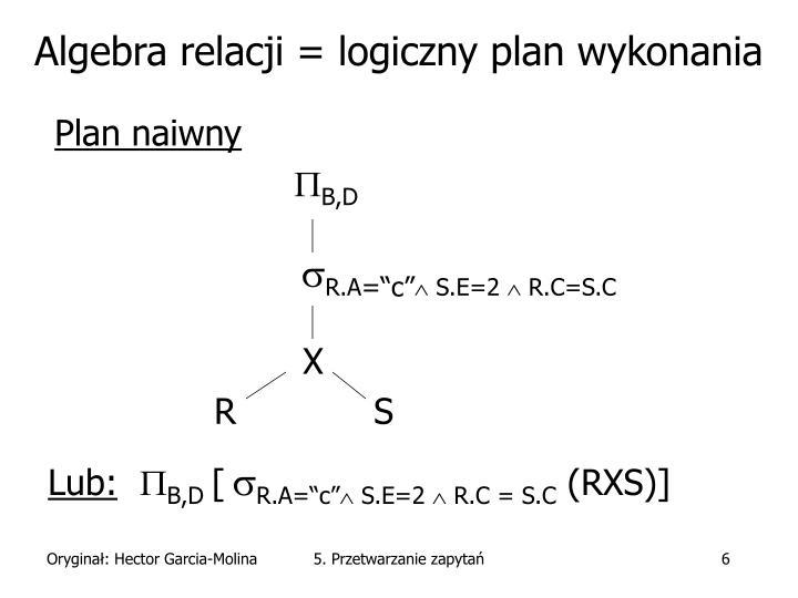 Algebra relacji = logiczny plan wykonania