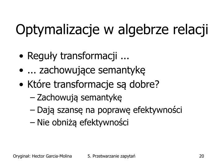 Optymalizacje w algebrze relacji