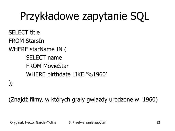 Przykładowe zapytanie SQL