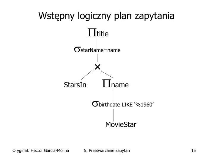 Wstępny logiczny plan zapytania