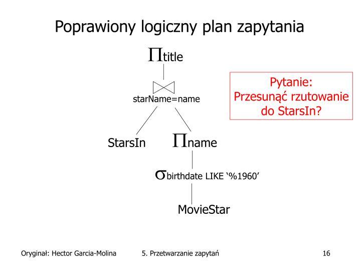 Poprawiony logiczny plan zapytania