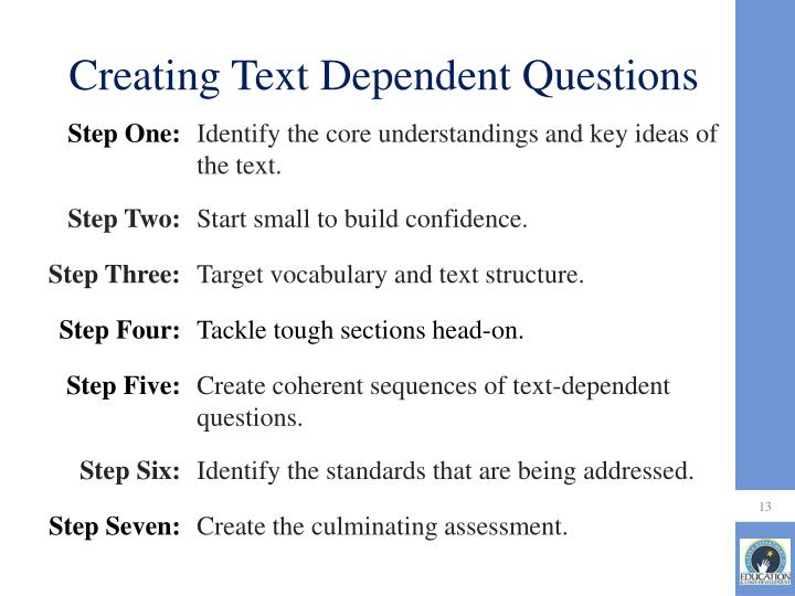 Creating Text Dependent Questions