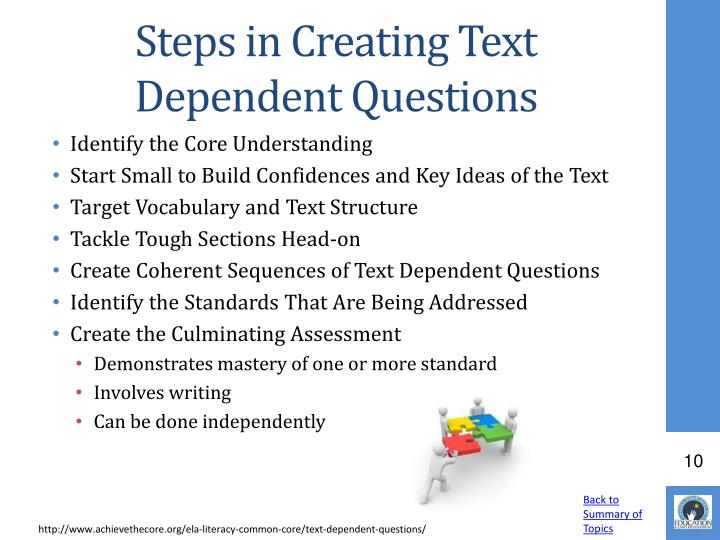 Steps in Creating Text Dependent Questions