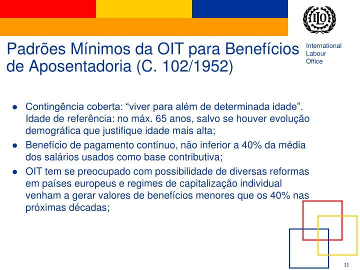 Padrões Mínimos da OIT para Benefícios de Aposentadoria (C. 102/1952)