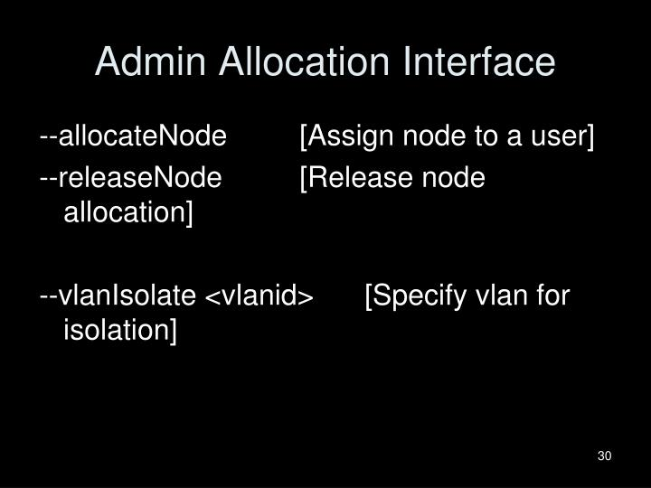 Admin Allocation Interface