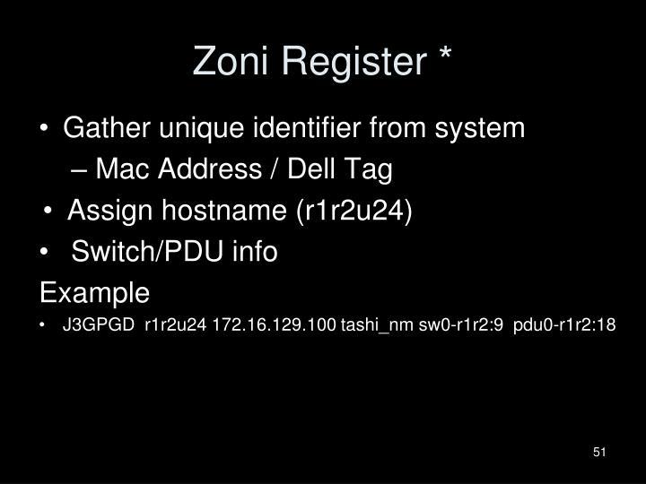 Zoni Register *