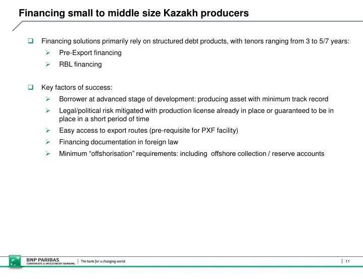 Financing small to middle size Kazakh producers