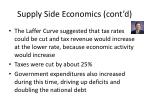 supply side economics cont d