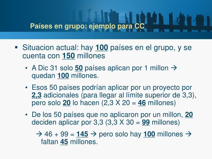 Países en grupo: ejemplo para CC