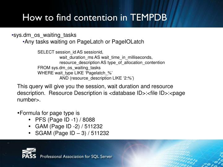 How to find contention in TEMPDB