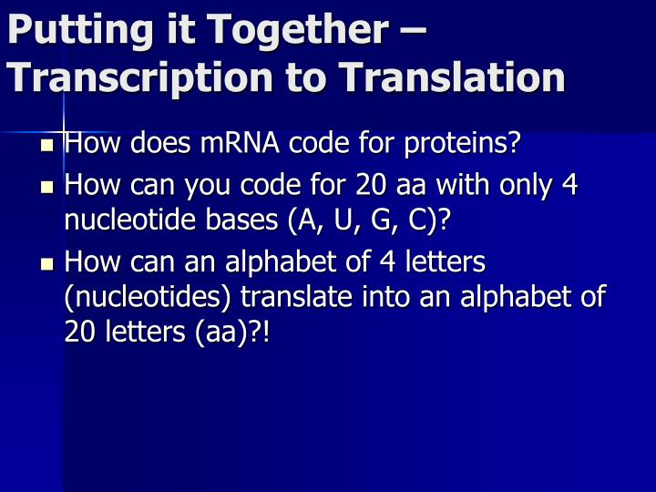 Putting it Together  Transcription to Translation