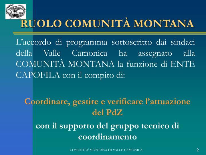 RUOLO COMUNITÀ MONTANA