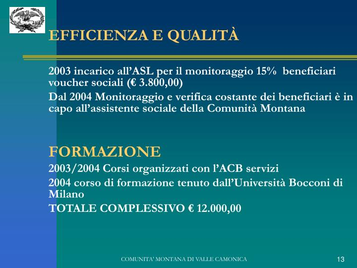 EFFICIENZA E QUALITÀ