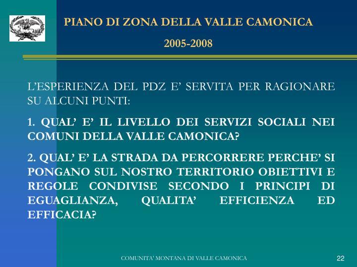 PIANO DI ZONA DELLA VALLE CAMONICA