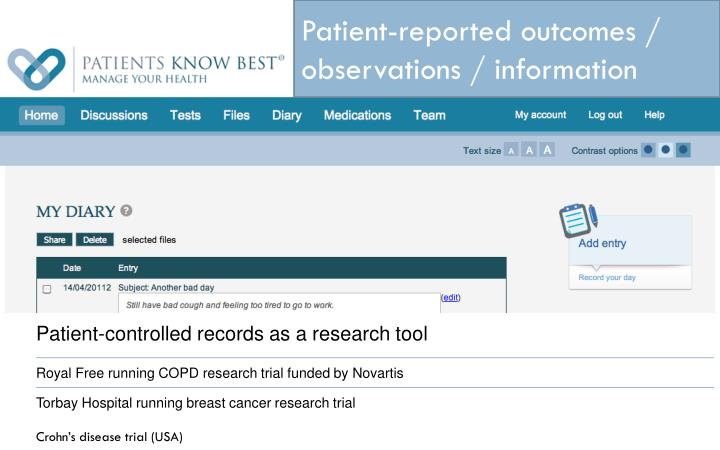 Patient-reported outcomes / observations / information