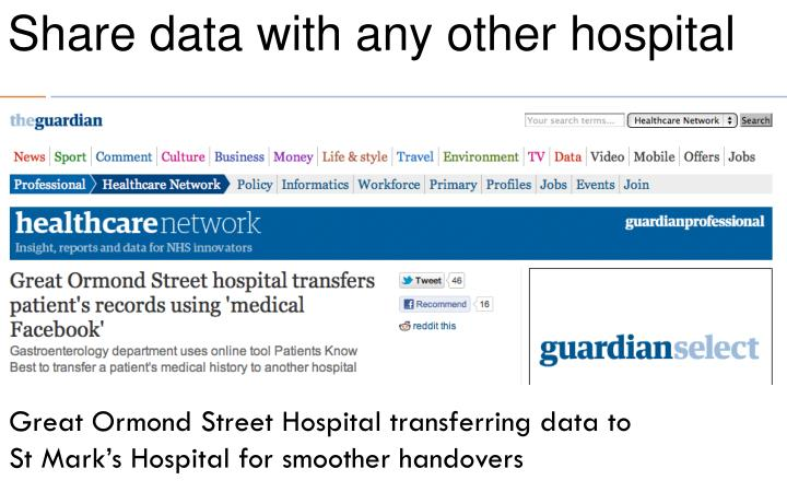 Share data with any other hospital