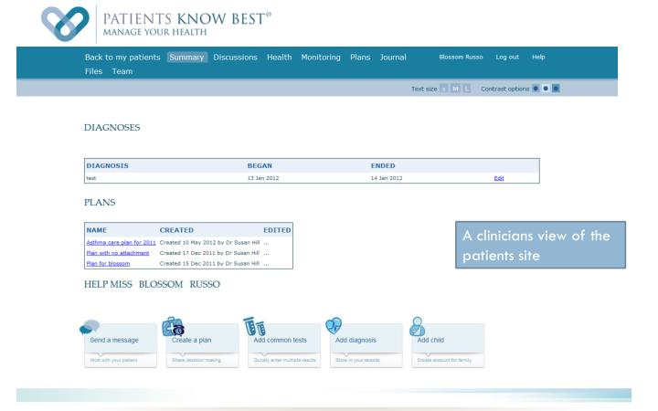 A clinicians view of the patients site