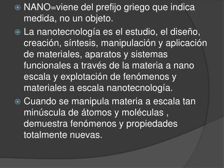 NANO=viene del prefijo griego que indica medida, no un objeto.