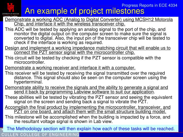 An example of project milestones