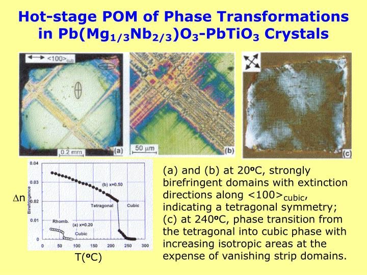 Hot-stage POM of Phase Transformations in Pb(Mg