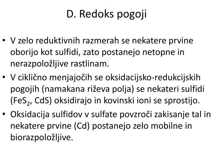 D. Redoks pogoji