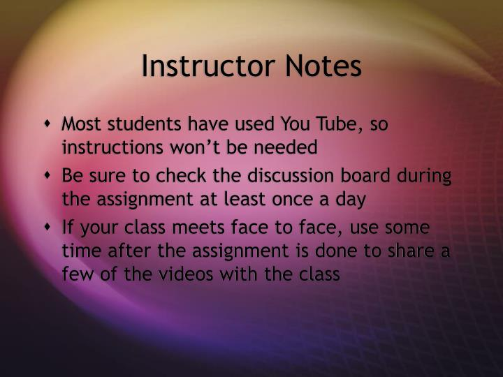 Instructor Notes